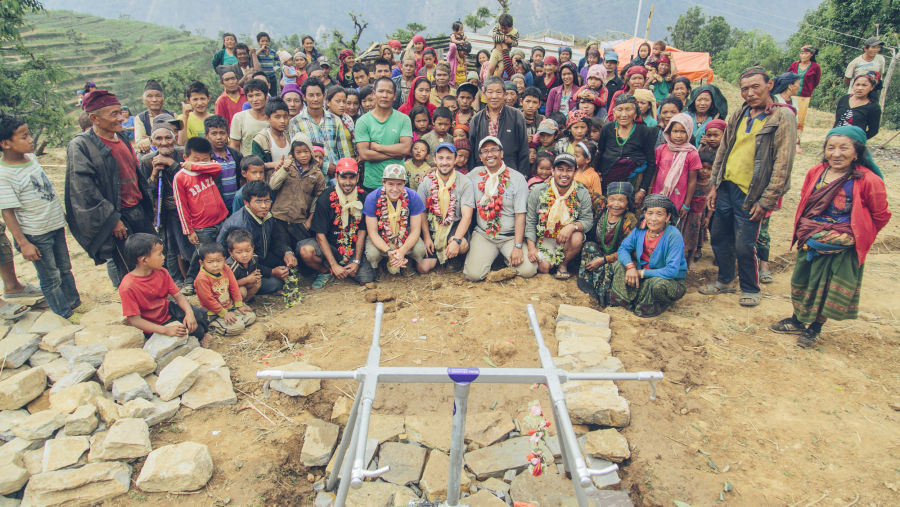 Water Mission team with Pokhari community | Nepal Earthquake