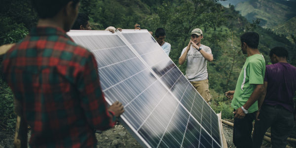 Water Mission engineer Tim Darms leads a solar-powered water project in Thulodhading, Nepal