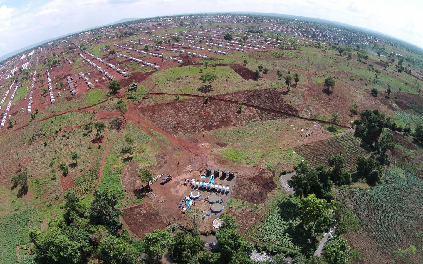 Aerial view of part of Nyarugusu Refugee Camp, Tanzania