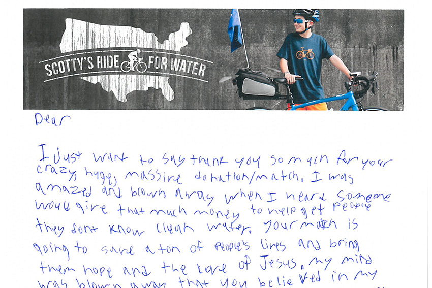 Scotty Parker wrote letters to invite leaders in the community to bike with him as he raises awareness for the global water crisis.