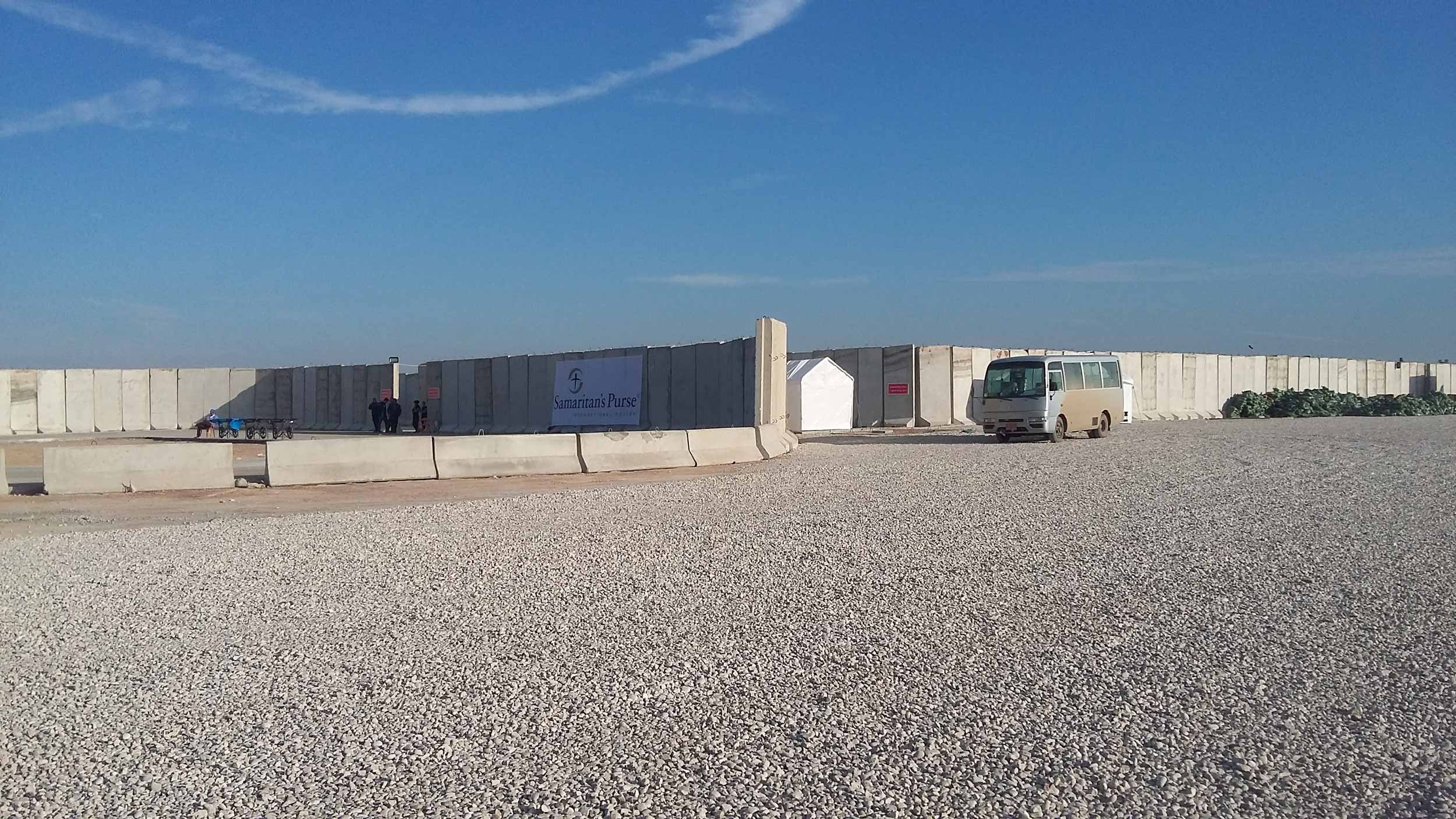 Samaritan's Purse compound protected against artillery fire.