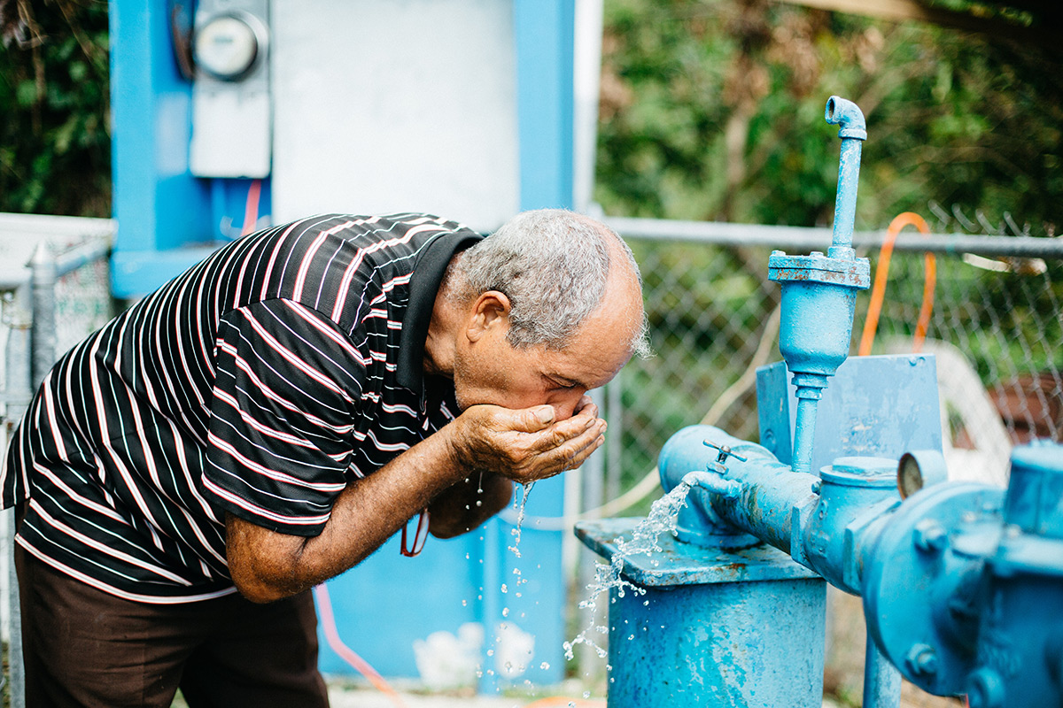 Finally receiving access to safe water again after months without.