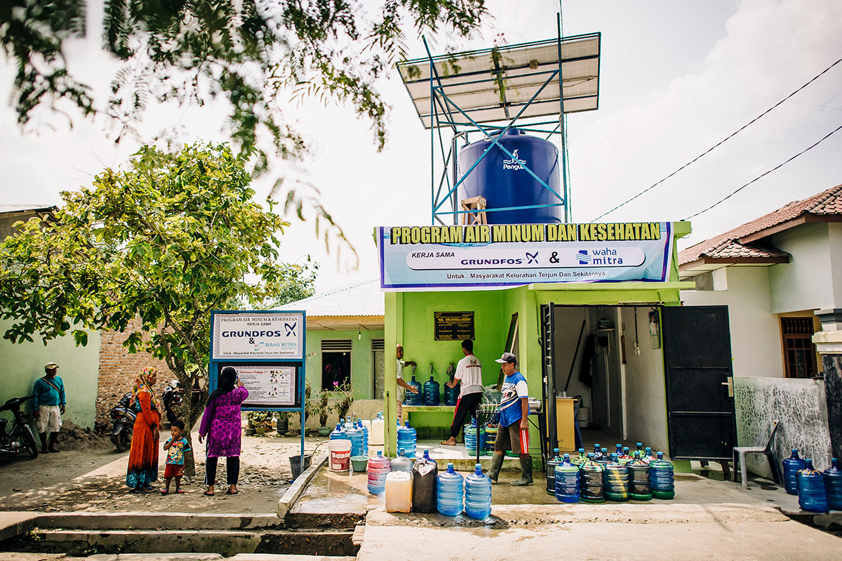 Solar-powered water pumping in Indonesia.