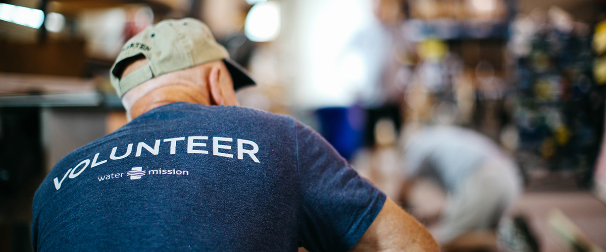 Volunteer at Water Mission's headquarters.